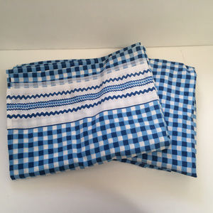 vintage twin flat sheets blue white check pattern